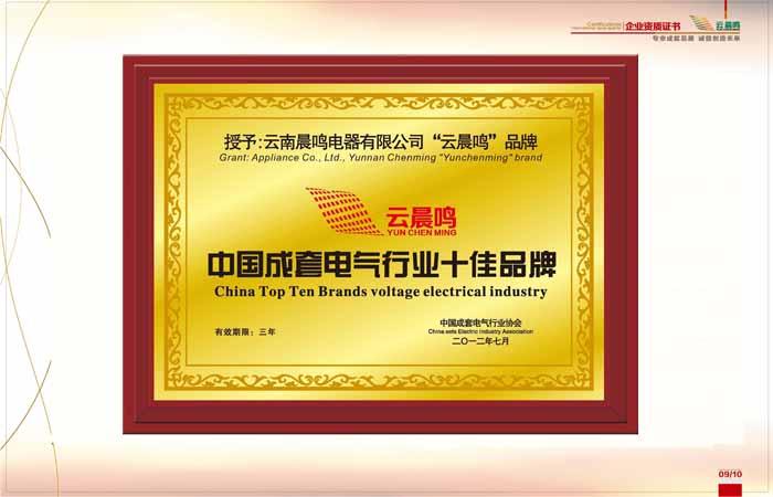 中国成套电器行业十佳品牌